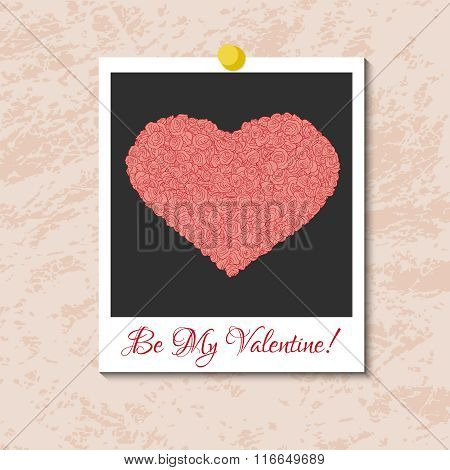 Vector instant photo card with heart from pink roses