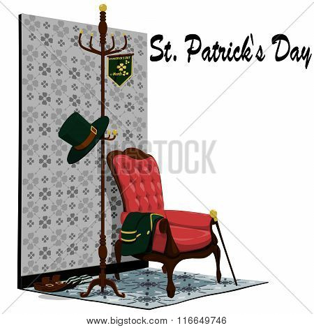 Accessories of St. Patrick's Day in the room