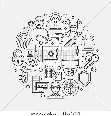 Security outline round illustration