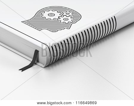 Advertising concept: closed book, Head With Gears on white background