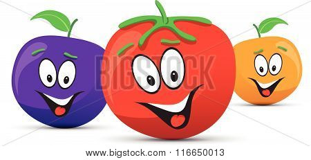 happy orange plum and tomato faces