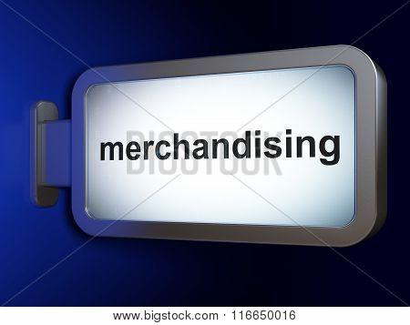 Advertising concept: Merchandising on billboard background