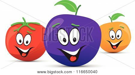 happy orange plum and tomato faces
