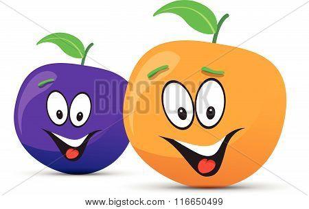 happy plum and orange faces