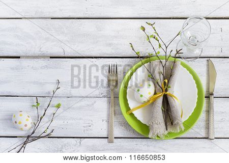 Spring Easter Table Setting At Wooden Table. Top View.