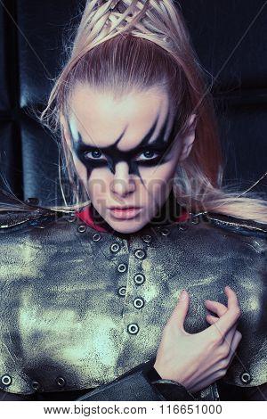 Blond woman in steel armor