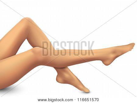 Beautiful women legs on white background.