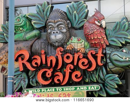 Rainforest Cafe Animals Sign Entrance