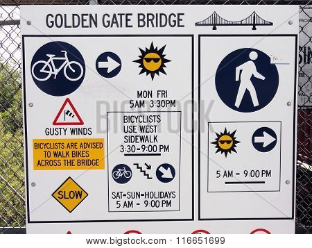 Golden Gate Bridge Rules Sign In California