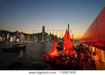 HONG KONG - JANUARY 25, 2016: The Duk Ling at Victoria Harbour. The Duk Ling, meaning