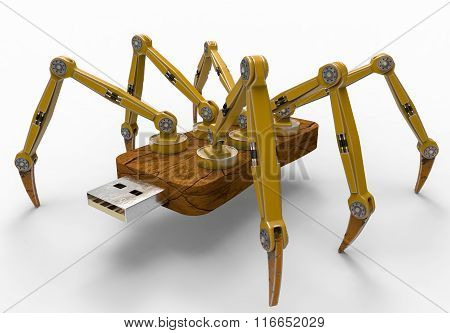 Yellow Robot Usb Flash Spider
