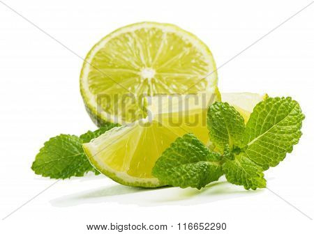 Fresh Lime With Leaves And Mint.