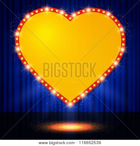 Shining Retro Heart On Stage Curtain