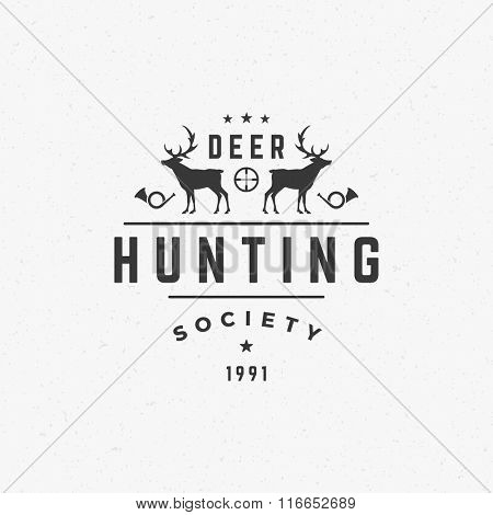 Hunting Club Logo Template. Two Deer and Target Silhouette Isolated On White Background. Vector object for Labels, Badges, Logos and other Design. Deer Logo, Hunter Logo, Deer Hunting, Retro logo.