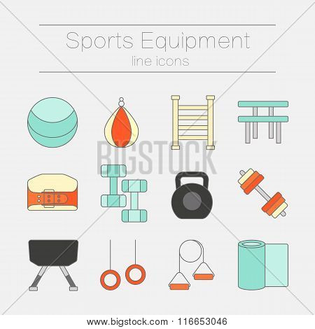Set of modern flat line icons sports equipment, gym training