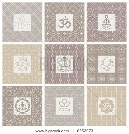 Yoga Icons on Ornament Background. Vector Illustration Set