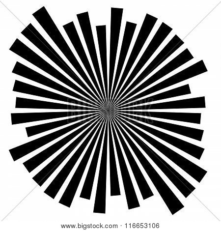 Abstract Converging, Radiating Lines Monochrome Vector Element