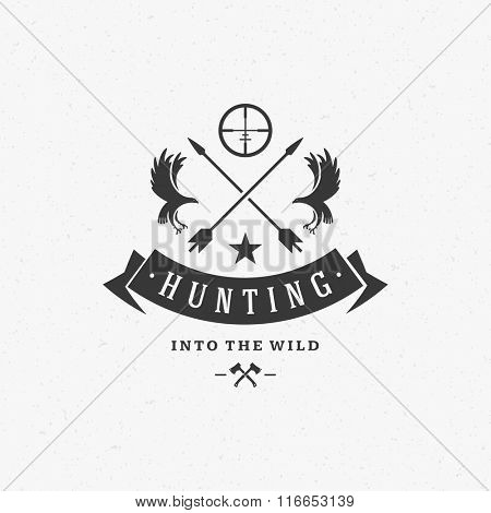 Hunting Club Logo Template. Two Eagles and Arrows Silhouette Isolated On White Background. Vector object for Labels, Badges, Logos. Hunter Logo, Eagle Hunting, Eagle Logo, Retro Logo, Eagle Silhouette