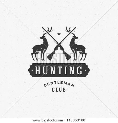 Hunting Club Logo Template. Two Deer and Riffle Silhouette Isolated On White Background. Vector object for Labels, Badges, Logos and other Design. Deer Logo, Hunter Logo, Deer Hunting, Rifle Logo.