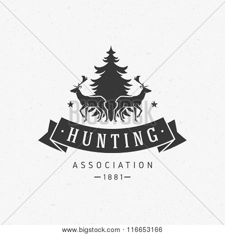 Hunting Club Logo Template. Two Deer and Tree Silhouette Isolated On White Background. Vector object for Labels, Badges, Logos and other Design. Deer Logo, Hunter Logo, Deer Hunting, Retro logo.