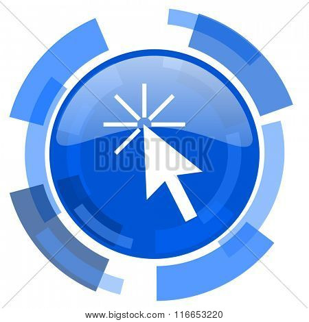 click here blue glossy circle modern web icon