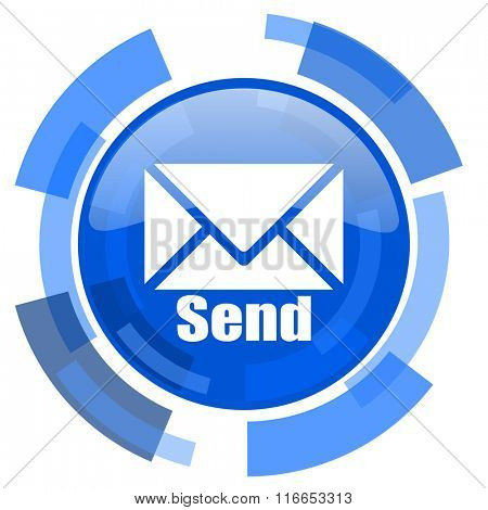 send blue glossy circle modern web icon
