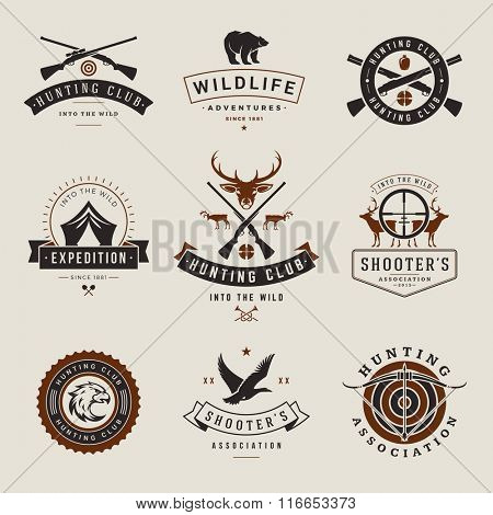 Set of Hunting and Fishing Labels, Badges, Logos Vector Design Elements Vintage Style. Deer Head, Hunter Weapons. Advertising Hunter Equipment. Fishing Logo, Deer Logo, Rifle Logo, Camp Logo.
