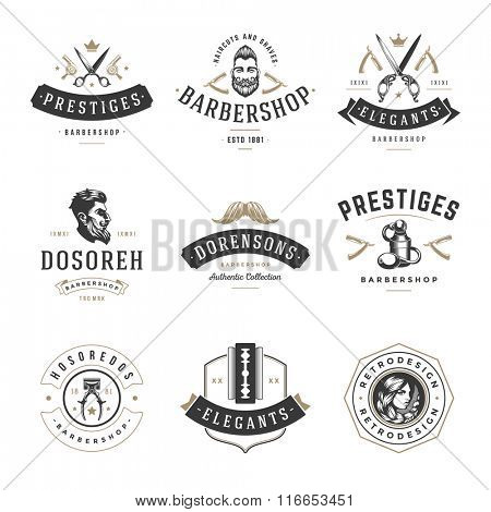 poster of Barber Shop Logos Vector Templates Set. Labels, Badges and Design Elements. Barber shop Logo, Beauty
