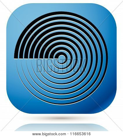 Generic Icon With Cyclic, Circular Concentric Lines Symbol