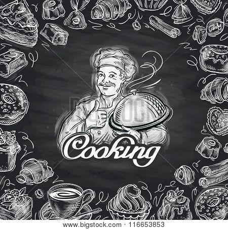 cooking. hand-drawn chef and the food. vector illustration