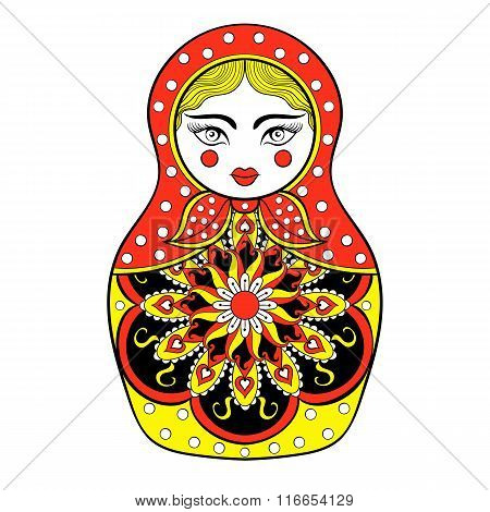 Zentangle stylized elegant Russian doll, Matryoshka doll in Khok