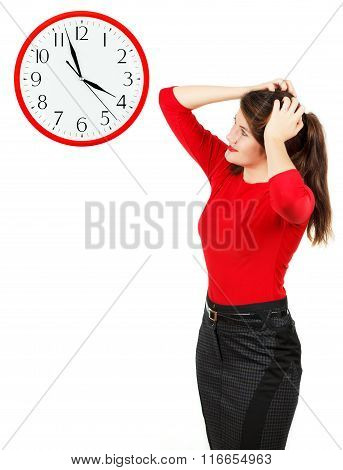 Emotions Of Girl , Who Looks At The Clock