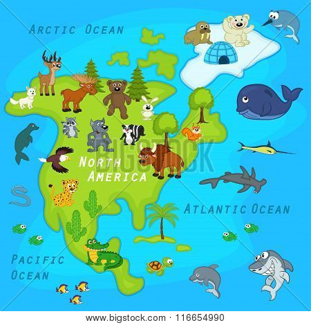 map of the North America with animals
