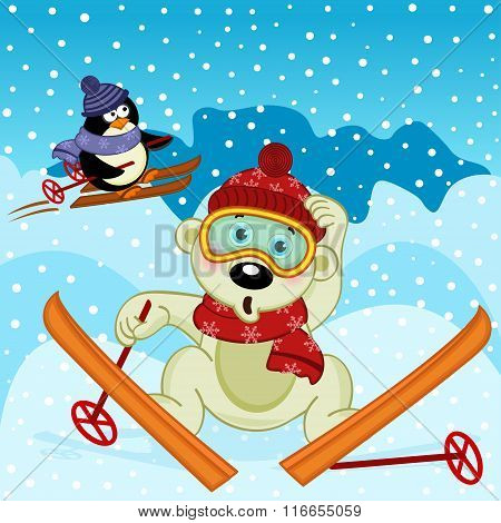 polar bear and penguin skiing