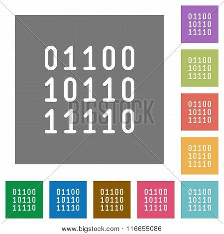 Binary Code Square Flat Icons
