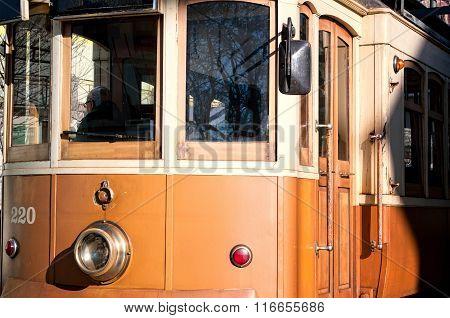 Closeup Of A Historical Street Tram In Porto, Portugal