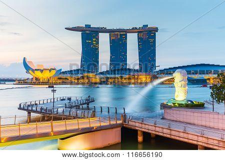 Singapore City Skyline At Twilight