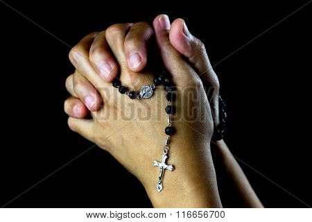 Asian Praying Hands With Silver Rosary