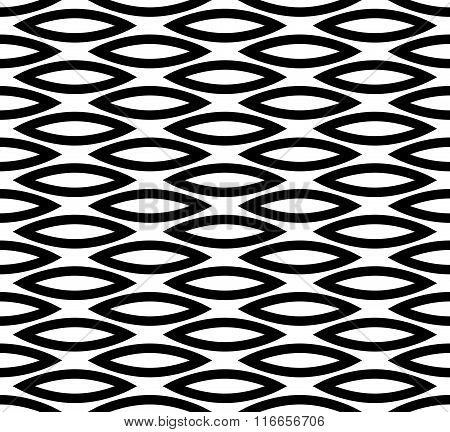 Abstract Seamless Background / Pattern With Staggered Leaf, Almond Shapes. Monochrome Repeatable Vec