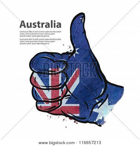 hand gesture thumb up. flag of Australia. vector illustration