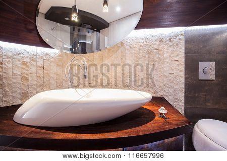 Designed Washbasin In Modern Toilet