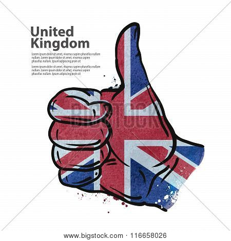 hand gesture thumb up. flag of England. vector illustration