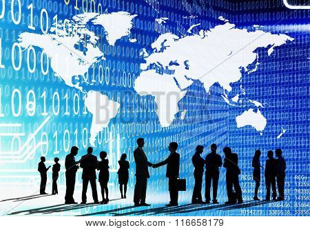 Binary Code Cartography Business People Concept