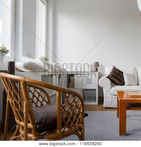 Wicker Armchair In Living Room