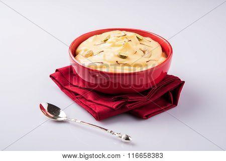 indian dessert or indian sweet Shrikhand, made up of strained yogurt or chakka, popular in maharasht