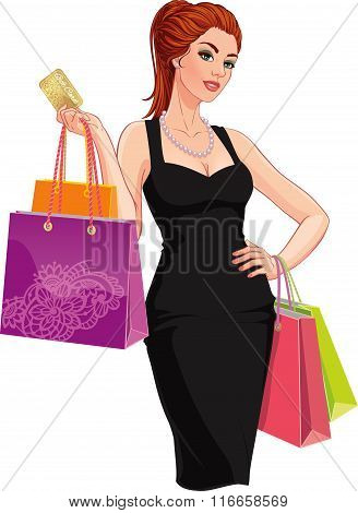 Happy young woman with shopping bags and discount card