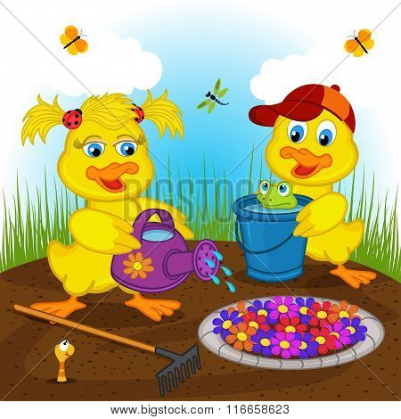 ducklings boy and girl watering flowers