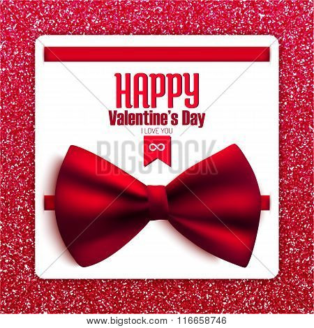 Happy Valentine's Day Glitter Postcard With Bow, Vector Illustration