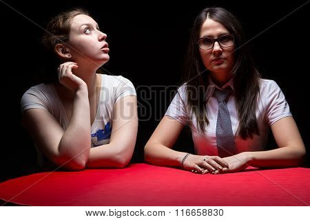Two woman on a boring interview