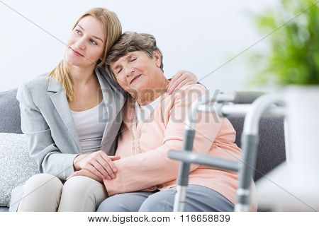 Grandmother And Granddaughter Being Friends